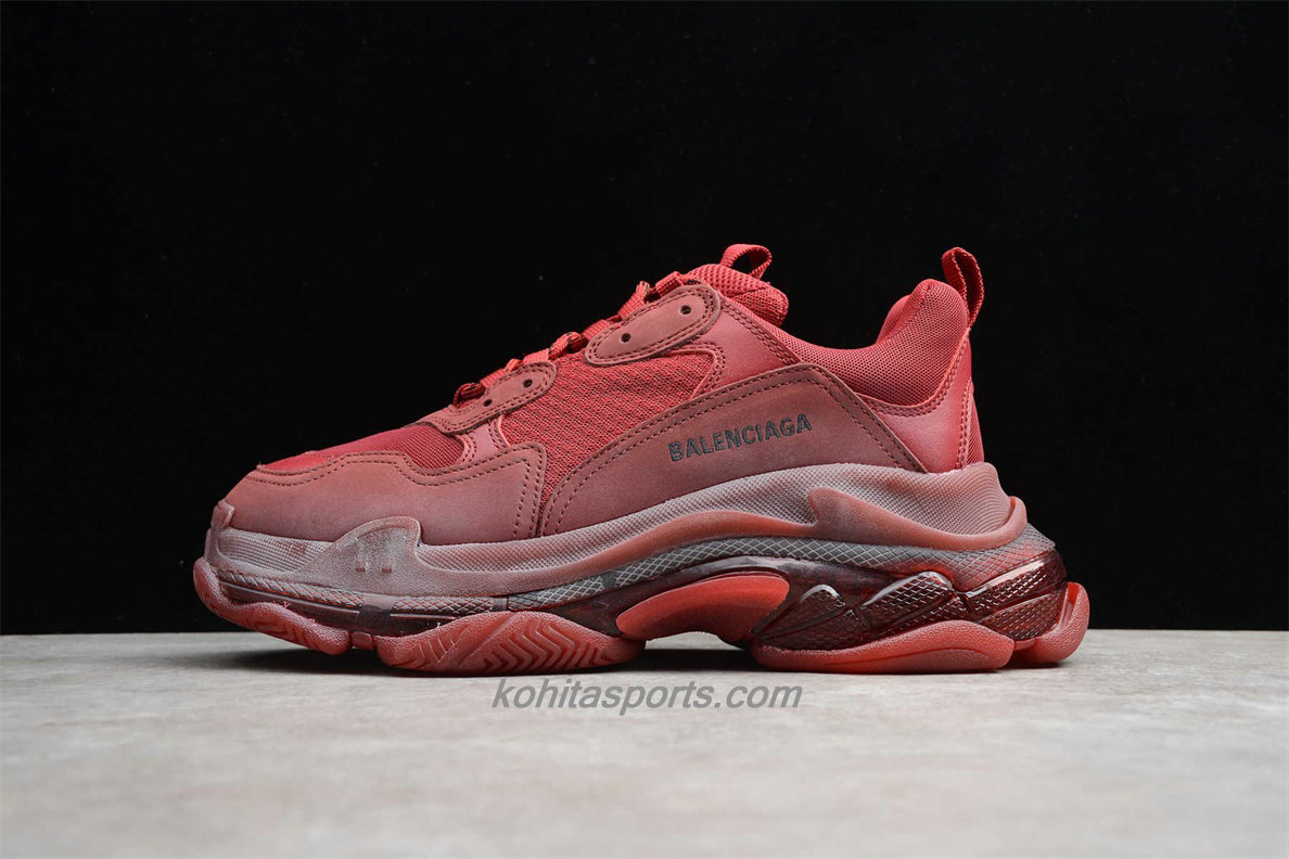 Chaussures Balenciaga Chunky Triple S Vin rouge